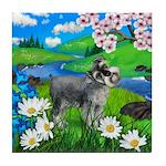 SCHNAUZER DOG SPRING RIVER Tile Coaster
