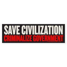 Save Civilization Bumper Bumper Sticker