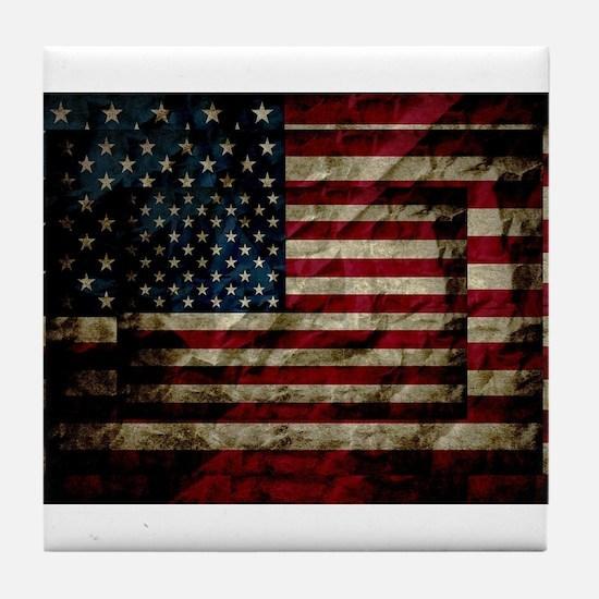 American Leather Flag Tile Coaster