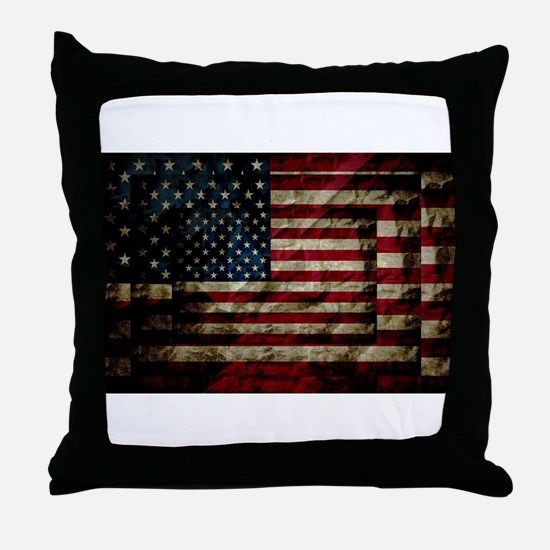American Leather Flag Throw Pillow
