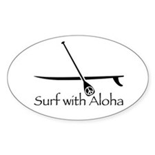 Surf with Aloha Oval Decal