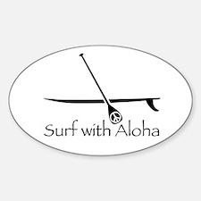 Surf with Aloha Oval Decal