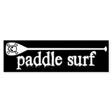 Paddle Surf Skull Black Bumper Bumper Sticker