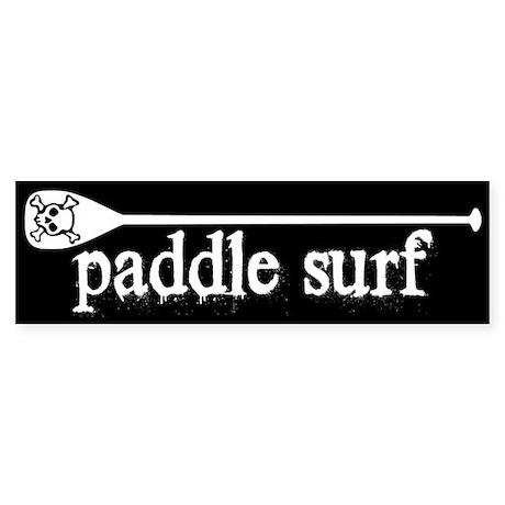 Paddle Surf Skull Black Bumper Sticker