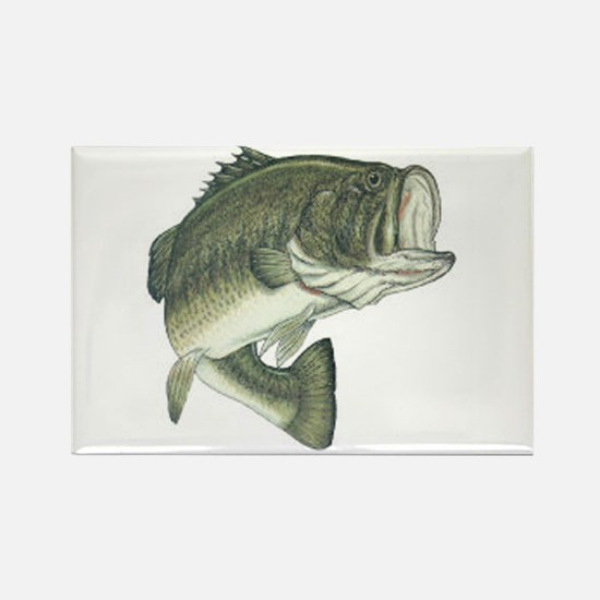 Large Mouth Bass Rectangle Magnet