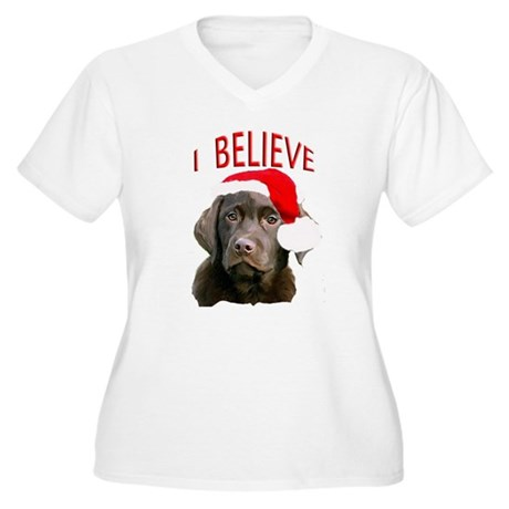 Chocolate Lab Christmas Puppy Women's Plus Size V-
