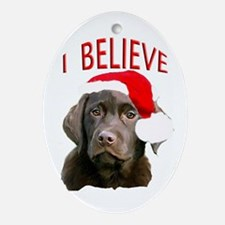 Chocolate Lab Christmas Puppy Oval Ornament