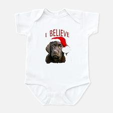 Chocolate Lab Christmas Puppy Infant Bodysuit