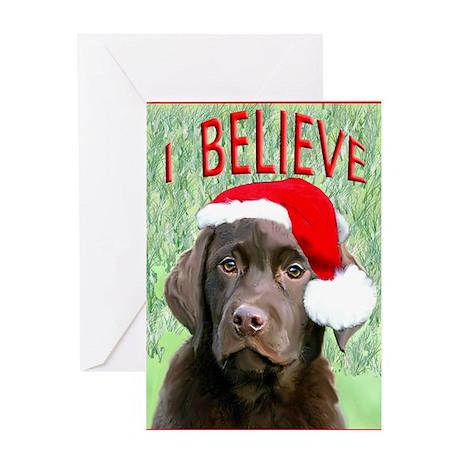 Chocolate Lab Christmas Puppy Greeting Card