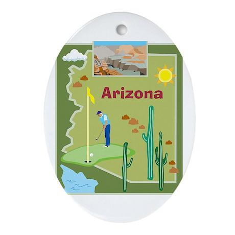 Arizona Map Oval Ornament