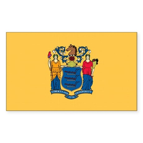New Jersey State Flag Rectangle Sticker