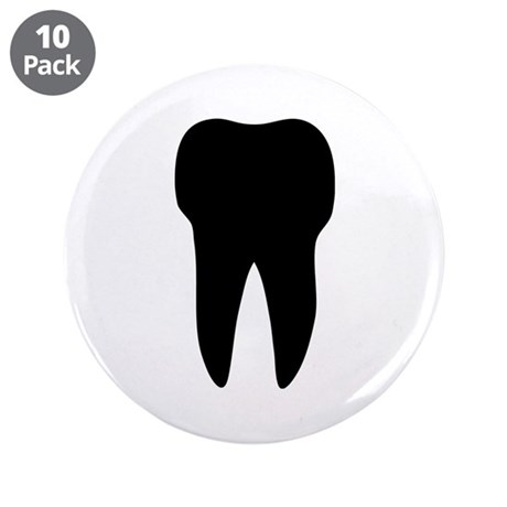 "black tooth icon dentist 3.5"" Button (10 pack)"