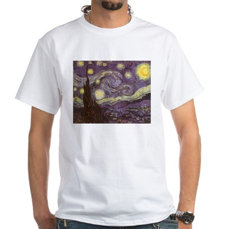 Van Gogh Starry Night White T-Shirt