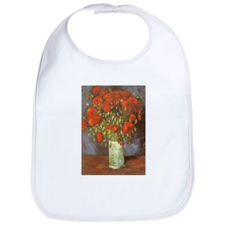 Van Gogh Vase w Red Poppies Bib