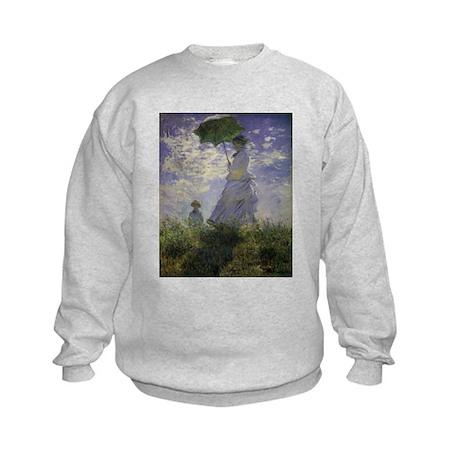 Claude Monet Woman w Parasol Kids Sweatshirt