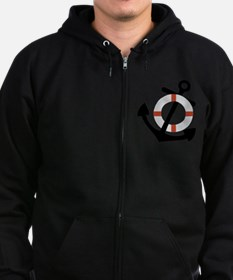 anchor and lifesaver Zip Hoodie