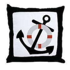 anchor and lifesaver Throw Pillow