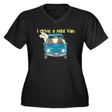 P Mini Van Women's Plus Size V-Neck Dark T-Shirt