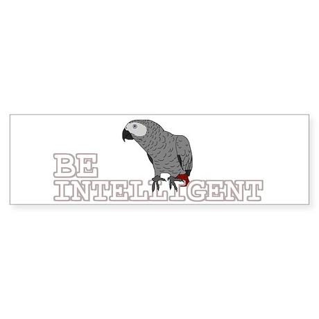Be Intelligent - African Grey Bumper Sticker