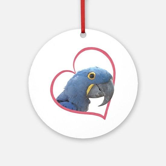 Hyacinth Macaw Heartline Ornament (Round)