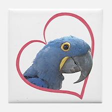 Hyacinth Macaw Heartline Tile Coaster