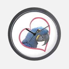 Hyacinth Macaw Heartline Wall Clock