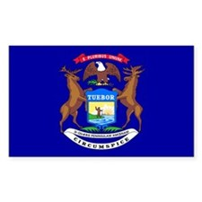 Michigan State Flag Rectangle Decal