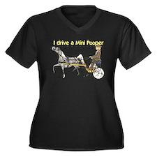 Mini Pooper Women's Plus Size V-Neck Dark T-Shirt
