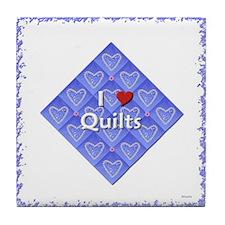 I LOVE QUILTS BLUE 1 Tile Coaster