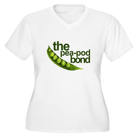 """Pea-Pod Bond"" Women's Plus Size V-Neck T-Shirt"