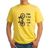 Cycling Mens Classic Yellow T-Shirts