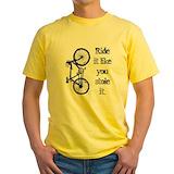 Cycling Mens Classic Yellow T-Shirts