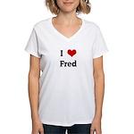I Love Fred Women's V-Neck T-Shirt