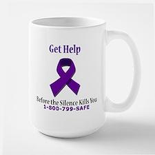 Purple Ribbon Large Mug