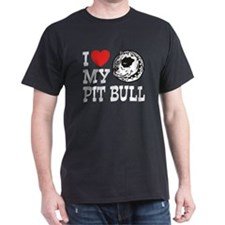 I Love My Pit bull Black T-Shirt
