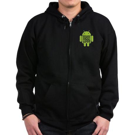 Google Android Geek QR Code Zip Hoodie (dark)