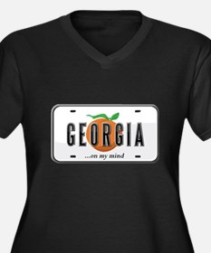Georgia Women's Plus Size V-Neck Dark T-Shirt