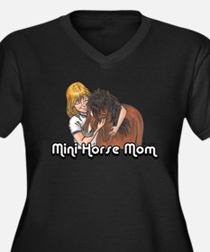 Mini Horse Mom Women's Plus Size V-Neck Dark T-Shi