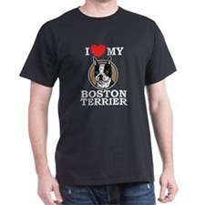 I Love My Boston Terrier Black T-Shirt