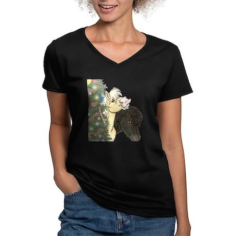 Minis Xmas Treeside Women's V-Neck Dark T-Shirt