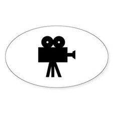 hollywood movie camera Oval Decal
