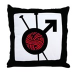 Men Who Knit Throw Pillow