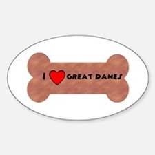 LOVE GREAT DANES (BONES) Oval Decal