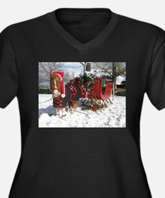 Santa Mini Sleigh Women's Plus Size V-Neck Dark T-
