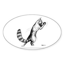 Springing Cat 2 Oval Decal