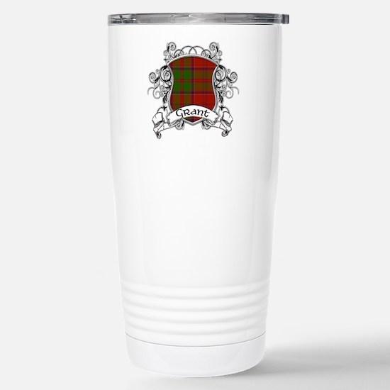 Grant Tartan Shield Stainless Steel Travel Mug