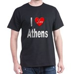 I Love Athens Greece (Front) Black T-Shirt