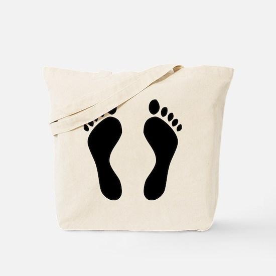 footprints barefoot Tote Bag