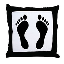 footprints barefoot Throw Pillow