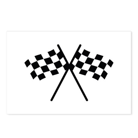 checker flag autorace Postcards (Package of 8)